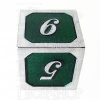 TDSO Metal Script Silver & Dark Green Shimmer D6 Dice