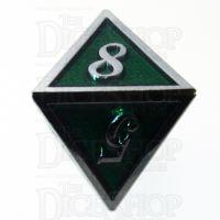 TDSO Metal Script Silver & Dark Green Shimmer D8 Dice