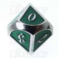 TDSO Metal Script Silver & Dark Green Shimmer D10 Dice