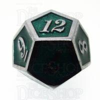 TDSO Metal Script Silver & Dark Green Shimmer D12 Dice
