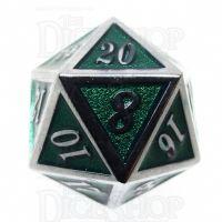 TDSO Metal Script Silver & Dark Green Shimmer D20 Dice