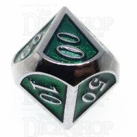 TDSO Metal Script Silver & Dark Green Shimmer Percentile Dice
