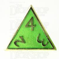 TDSO Metal Script Gold & Light Green D4 Dice