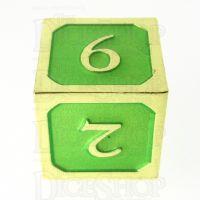 TDSO Metal Script Gold & Light Green D6 Dice