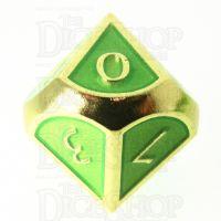 TDSO Metal Script Gold & Light Green D10 Dice