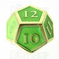 TDSO Metal Script Gold & Light Green D12 Dice