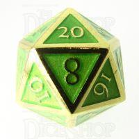 TDSO Metal Script Gold & Light Green D20 Dice