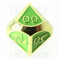 TDSO Metal Script Gold & Light Green Percentile Dice