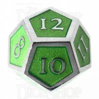 TDSO Metal Script Silver & Light Green D12 Dice