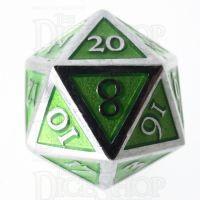 TDSO Metal Script Silver & Light Green D20 Dice