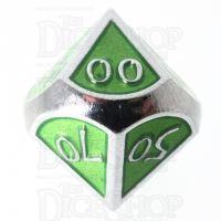 TDSO Metal Script Silver & Light Green Percentile Dice