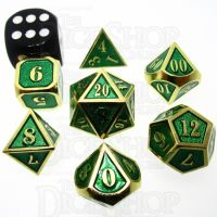 TDSO Metal Fire Forge Gold & Green MINI 12mm 7 Dice Polyset