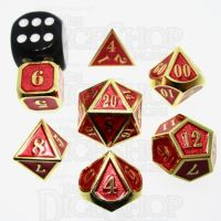 TDSO Metal Fire Forge Gold & Red MINI 12mm 7 Dice Polyset