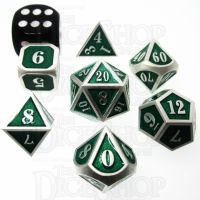 TDSO Metal Fire Forge Silver & Green MINI 12mm 7 Dice Polyset