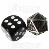 TDSO Metal Fire Forge Antique Silver MINI 12mm D20 Dice