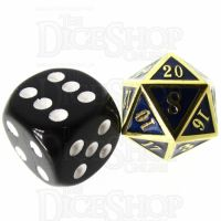 TDSO Metal Fire Forge Gold & Blue MINI 12mm D20 Dice