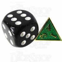TDSO Metal Fire Forge Gold & Green MINI 12mm D4 Dice