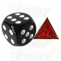 TDSO Metal Fire Forge Gold & Red MINI 12mm D4 Dice