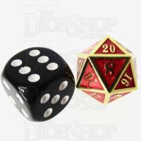 TDSO Metal Fire Forge Gold & Red MINI 12mm D20 Dice