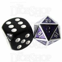 TDSO Metal Fire Forge Silver & Purple MINI 12mm D20 Dice
