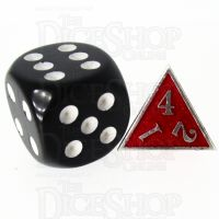 TDSO Metal Fire Forge Silver & Red MINI 12mm D4 Dice