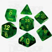 Chessex Borealis Maple Green & Yellow 7 Dice Polyset