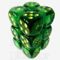 Chessex Borealis Maple Green & Yellow 12 x D6 Dice Set