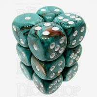Chessex Marble Oxi-Copper 12 x D6 Dice Set