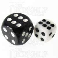 TDSO Opaque White 12mm D6 Spot Dice