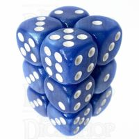 TDSO Pearl Blue & White 12 x D6 Dice Set