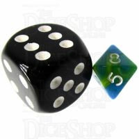 TDSO Duel Turquoise Blue & Pistachio Green MINI 10mm D8 Dice