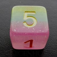 TDSO Layer Transparent Candyland Glitter D6 Dice