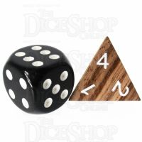 TDSO Zebrawood Wooden D4 Dice - Large Inked