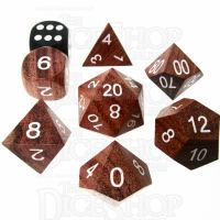 TDSO Rosewood Wooden 7 Dice Polyset - Large Inked