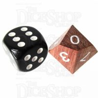 TDSO Rosewood Wooden D10 Dice - Large Inked