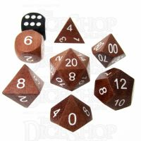 TDSO Red Sandalwood Wooden 7 Dice Polyset - Large Inked