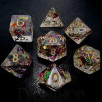 TDSO Confetti Rainbow & Gold 7 Dice Polyset