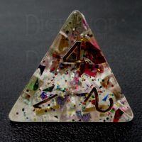 TDSO Confetti Rainbow & Gold D4 Dice