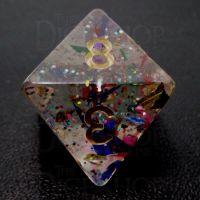 TDSO Confetti Rainbow & Gold D8 Dice