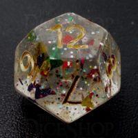 TDSO Confetti Rainbow & Gold D12 Dice