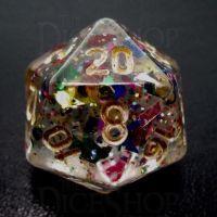 TDSO Confetti Rainbow & Gold D20 Dice