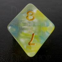 TDSO Pearl Swirl Yellow & Blue D8 Dice