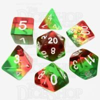 TDSO Layer Transparent Green Yellow & Red 7 Dice Polyset