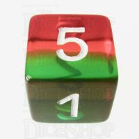 TDSO Layer Transparent Green Yellow & Red D6 Dice