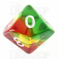 TDSO Layer Transparent Green Yellow & Red D10 Dice