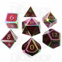 TDSO Metal Script Iridescent & Red 7 Dice Polyset