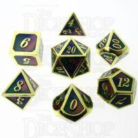 TDSO Metal Script Gold & Blue Green Purple 7 Dice Polyset