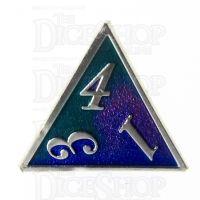 TDSO Metal Script Silver & Blue Green Purple D4 Dice