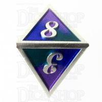 TDSO Metal Script Silver & Blue Green Purple D8 Dice