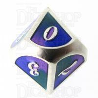 TDSO Metal Script Silver & Blue Green Purple D10 Dice